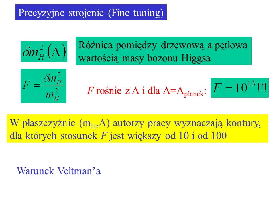Precyzyjne strojenie (Fine tuning) Różnica pomiędzy drzewową a pętlowa wartością masy bozonu Higgsa W płaszczyźnie (m H,Λ) autorzy pracy wyznaczają kontury, dla których stosunek F jest większy od 10 i od 100 F rośnie z Λ i dla Λ=Λ planck : Warunek Veltmana