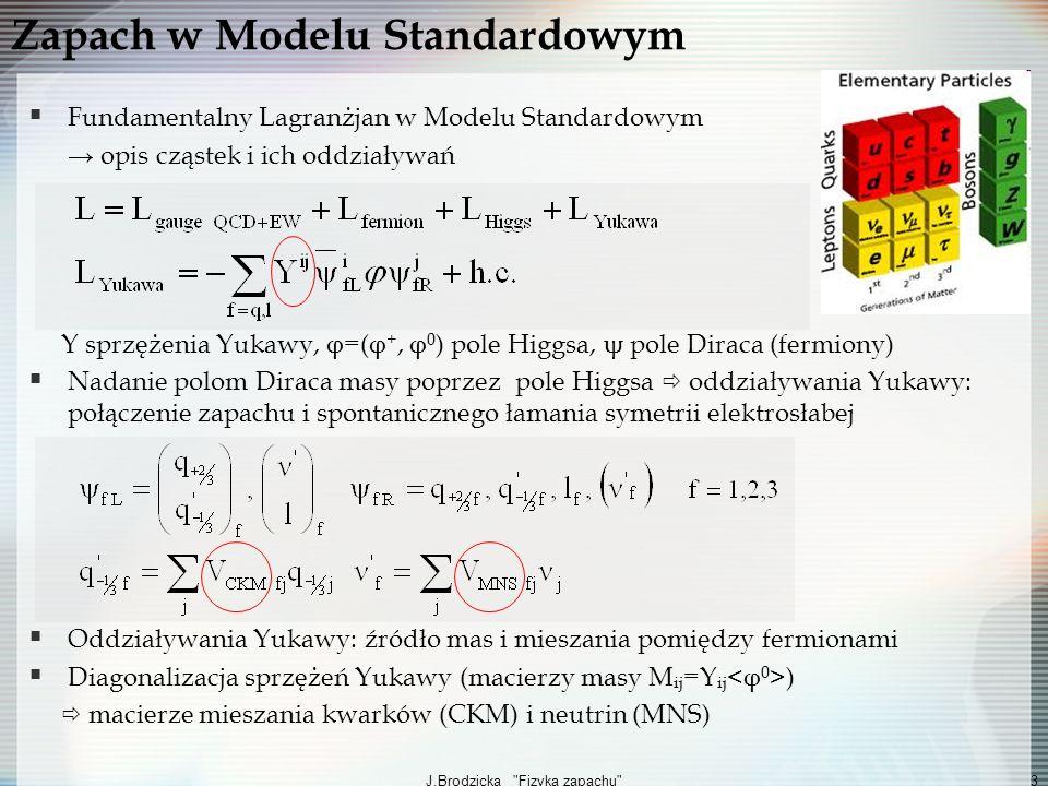 J.Brodzicka Fizyka zapachu 4 Macierz mieszania Cabibbo-Kabayashi-Maskawy (CKM) stany własne oddziaływań słabych są liniowymi kombinacjami stanów własnych masy 3 rodziny kwarków 1 faza zespolona =źródło łamania CP W MS mechanizm CKM to dominujące źródło łamania zapachu (MFV) i łamania CP (2008, Nagroda Nobla dla Kobayashiego i Maskawy) Rola macierzy CKM w procesach elektrosłabych prądy naładowane prądy neutralne Prądy neutralne ze zmianą zapachu (FCNC) : tylko w diagramach pętlowych (mechanizm GIM) Struktura zapachu (kwarki) q i (u,c,t) W + V CKM ij q j (d,s,b) q i Z-γ δ ij q j bd, bs FCNC