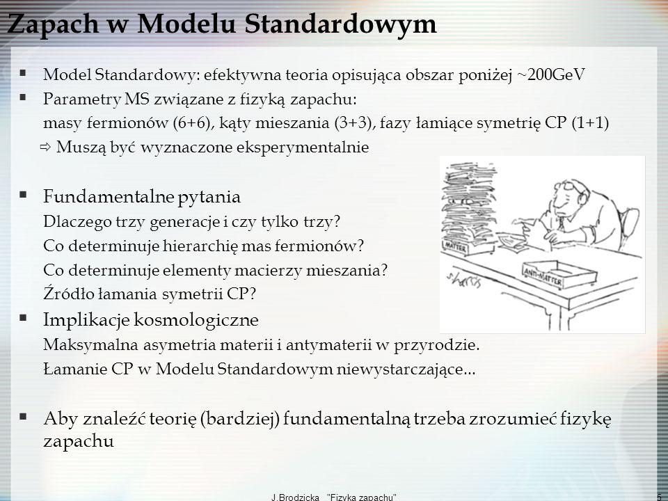 J.Brodzicka Fizyka zapachu 26 Podsumowanie Rola Fizyki Zapachu: Precyzyjny pomiar MS Poszukiwanie i identyfikacja Nowej Fizyki Poszukiwania pośrednie komplementarne do bezpośrednich Odchylenia od Modelu Standardowego w rozpadach B i B s + Fizyka mezonów D i D s : coraz większa czułość pomiarów (mieszanie D 0, łamanie CP, rzadkie rozpady) + Sektor leptonów (LFV) Giganci zapachu: Belle, Babar, CDF, DØ, LHCb Super Fabryki-B