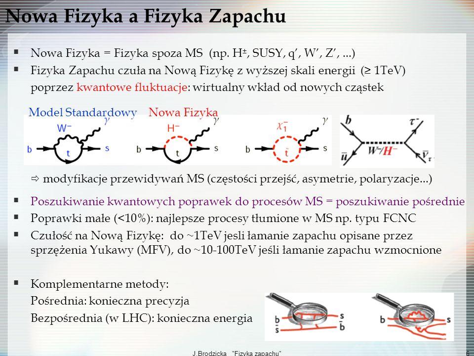 J.Brodzicka Fizyka zapachu 7 Strategia poszukiwania Nowej Fizyki Historia: fizyka zapachu czuła na zjawiska z wyższej skali energii: Mieszanie Kaonów, BR(K 0μμ), mechanizm GIM istnienie powabu Łamanie symetrii CP istnienie trzeciej generacji kwarków Mieszanie mezonów B 0 masa kwarku t Teraz: Pomiar korelacji między obserwablami identyfikacja Nowej Fizyki Potrzebne precyzyjne pomiary wielu obserwabli Potrzebna precyzyjna teoria/modele Korelacje pomiędzy pośrednimi i bezpośrednimi pomiarami Brak sygnałów Nowej Fizyki w procesach FCNC: poważne implikacje dla fizyki zapachu w skali 1TeV