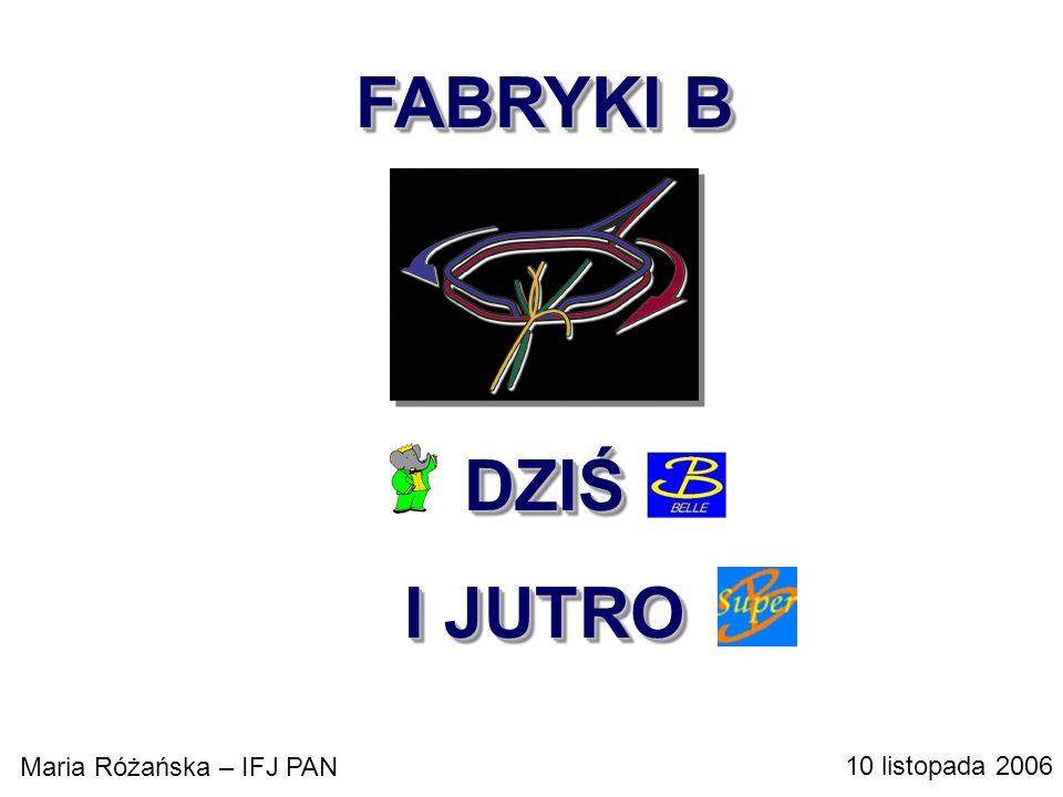 FABRYKI B hh bb + X TEVATRON ( bb )/ tot ~ 10 -4, 10 9 BB/rok LHC ( bb )/ tot ~ 10 -2, 10 12 BB/rok hh bb + X TEVATRON ( bb )/ tot ~ 10 -4, 10 9 BB/rok LHC ( bb )/ tot ~ 10 -2, 10 12 BB/rok e + e - (4S) BB ( BB )/ tot ~ 0.25 ~3x10 7 10 8 BB/rok (od 1986)