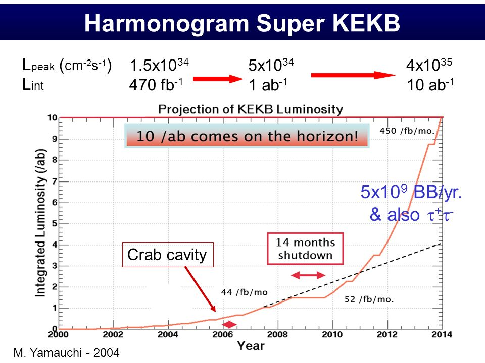 Harmonogram Super KEKB Crab cavity 1.5x10 34 470 fb -1 5x10 34 1 ab -1 4x10 35 10 ab -1 L peak ( cm -2 s -1 ) L int 5x10 9 BB/yr. & also + - M. Yamauc