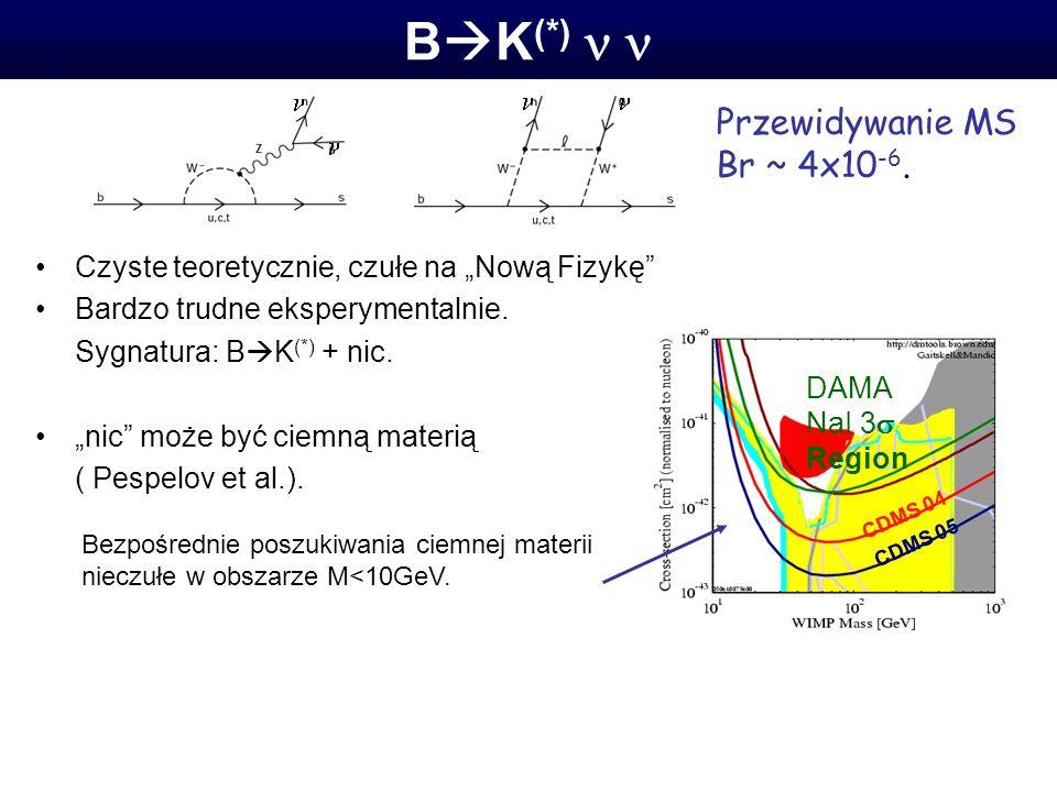 B K (*). Czyste teoretycznie, czułe na Nową Fizykę Bardzo trudne eksperymentalnie.
