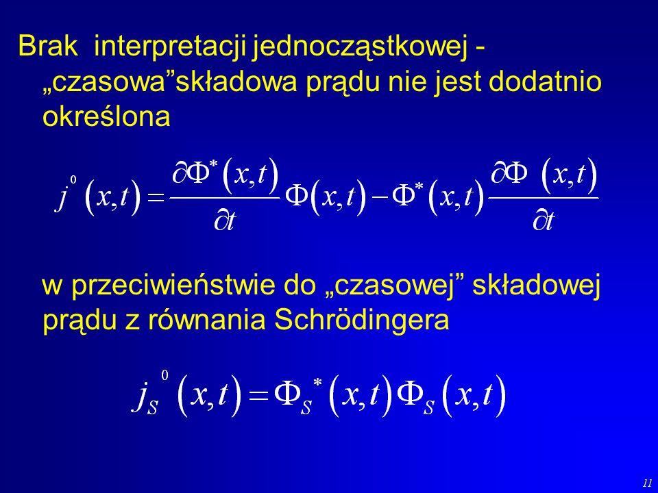 11 Brak interpretacji jednocząstkowej - czasowaskładowa prądu nie jest dodatnio określona w przeciwieństwie do czasowej składowej prądu z równania Sch