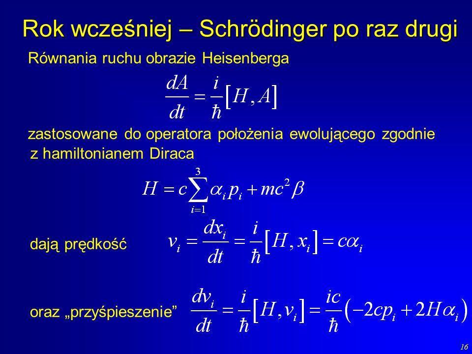 16 Rok wcześniej – Schrödinger po raz drugi Równania ruchu obrazie Heisenberga zastosowane do operatora położenia ewolującego zgodnie z hamiltonianem