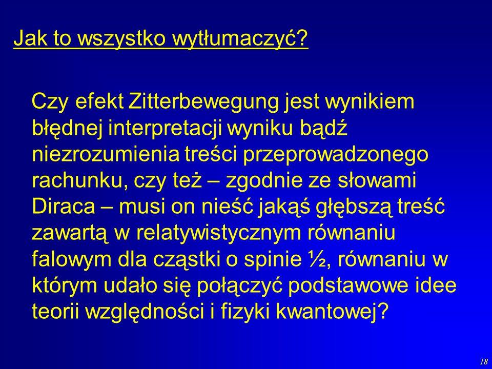 18 Jak to wszystko wytłumaczyć? Czy efekt Zitterbewegung jest wynikiem błędnej interpretacji wyniku bądź niezrozumienia treści przeprowadzonego rachun