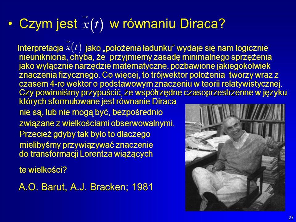 21 Czym jest w równaniu Diraca? Interpretacja jako położenia ładunku wydaje się nam logicznie nieunikniona, chyba, że przyjmiemy zasadę minimalnego sp