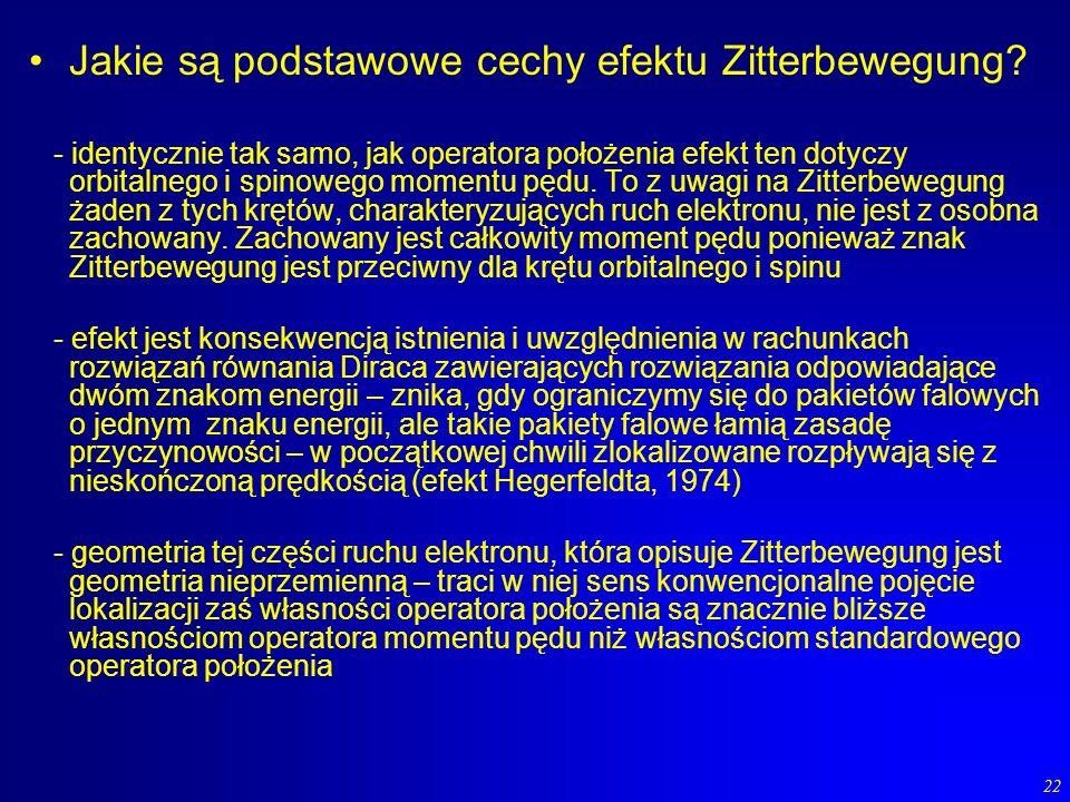 22 Jakie są podstawowe cechy efektu Zitterbewegung? - identycznie tak samo, jak operatora położenia efekt ten dotyczy orbitalnego i spinowego momentu