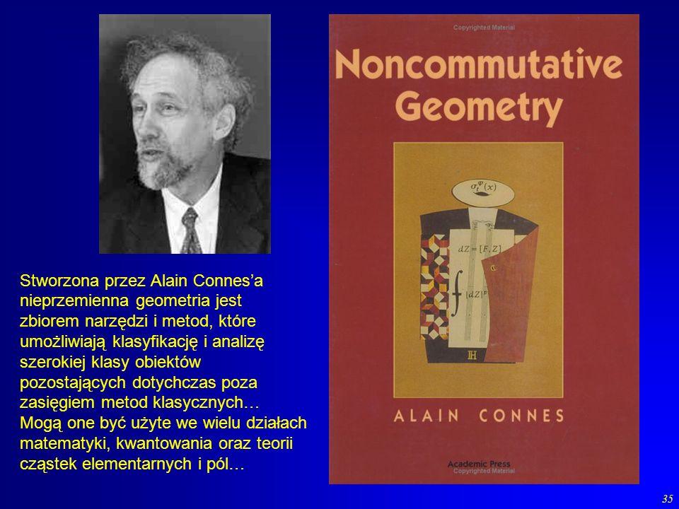 35 Stworzona przez Alain Connesa nieprzemienna geometria jest zbiorem narzędzi i metod, które umożliwiają klasyfikację i analizę szerokiej klasy obiek