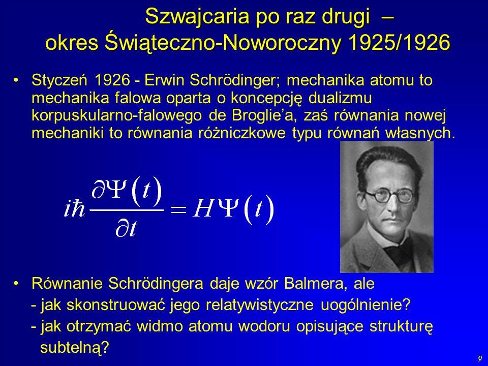 30 Rozważamy punkt materialny o masie m, na który działa siła f i którego równania ewolucji Heisenberga mają postać Para kanoniczna p, x oraz siła typu siły Lorenza spełniają te równania.