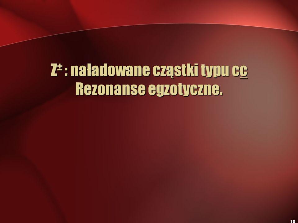 10 Z ± : naładowane cząstki typu cc Rezonanse egzotyczne.