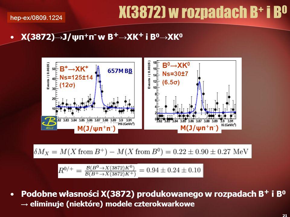 21 X(3872) J/ψπ + π - w B + XK + i B 0 XK 0 Podobne własności X(3872) produkowanego w rozpadach B + i B 0 eliminuje (niektóre) modele czterokwarkowe X