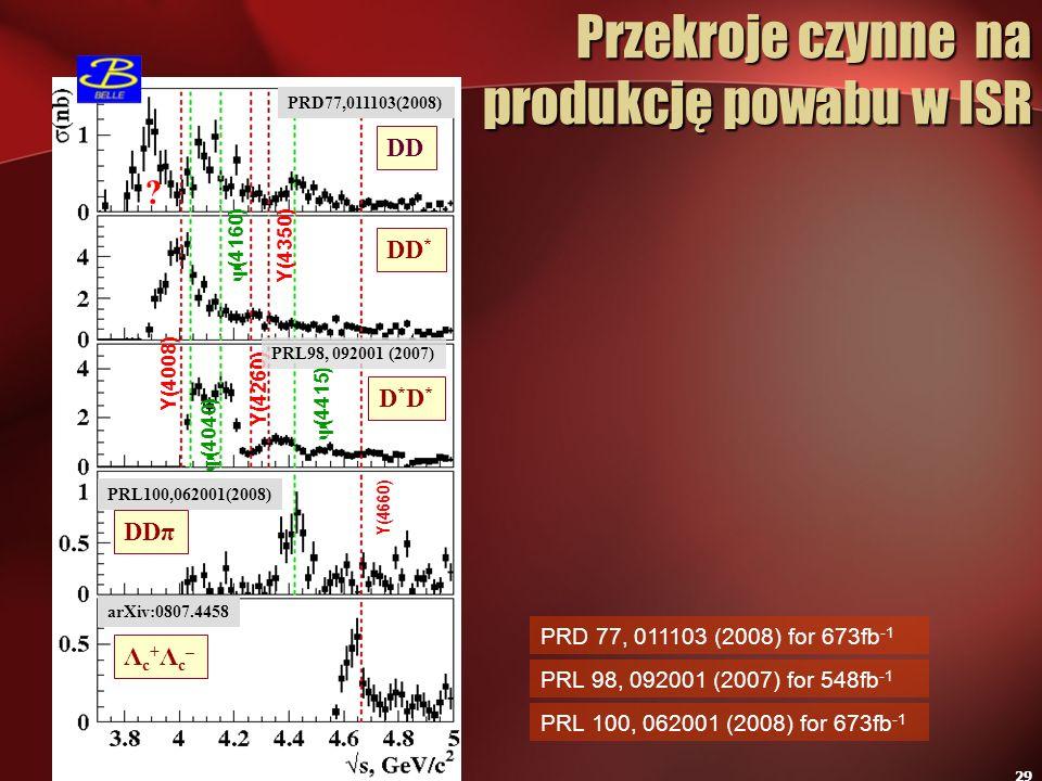 29 Przekroje czynne na produkcję powabu w ISR Przekroje czynne na produkcję powabu w ISR PRL 98, 092001 (2007) for 548fb -1 PRD 77, 011103 (2008) for