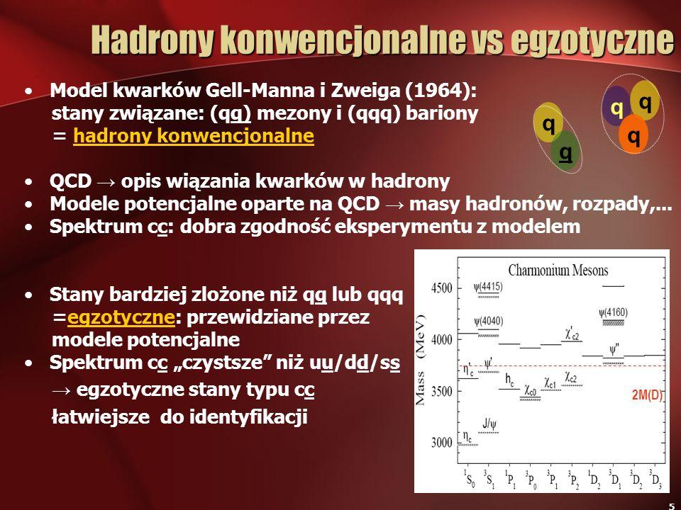 5 Model kwarków Gell-Manna i Zweiga (1964): stany związane: (qq) mezony i (qqq) bariony = hadrony konwencjonalne QCD opis wiązania kwarków w hadrony M