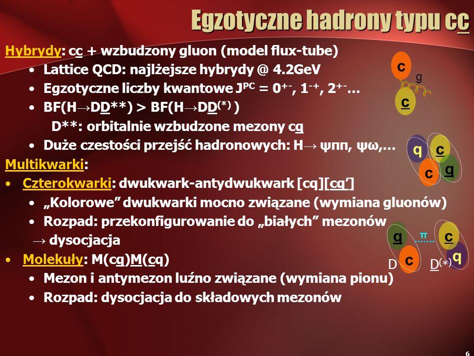6 Hybrydy: cc + wzbudzony gluon (model flux-tube) Lattice QCD: najlżejsze hybrydy @ 4.2GeV Egzotyczne liczby kwantowe J PC = 0 +-, 1 -+, 2 +- … BF(H D