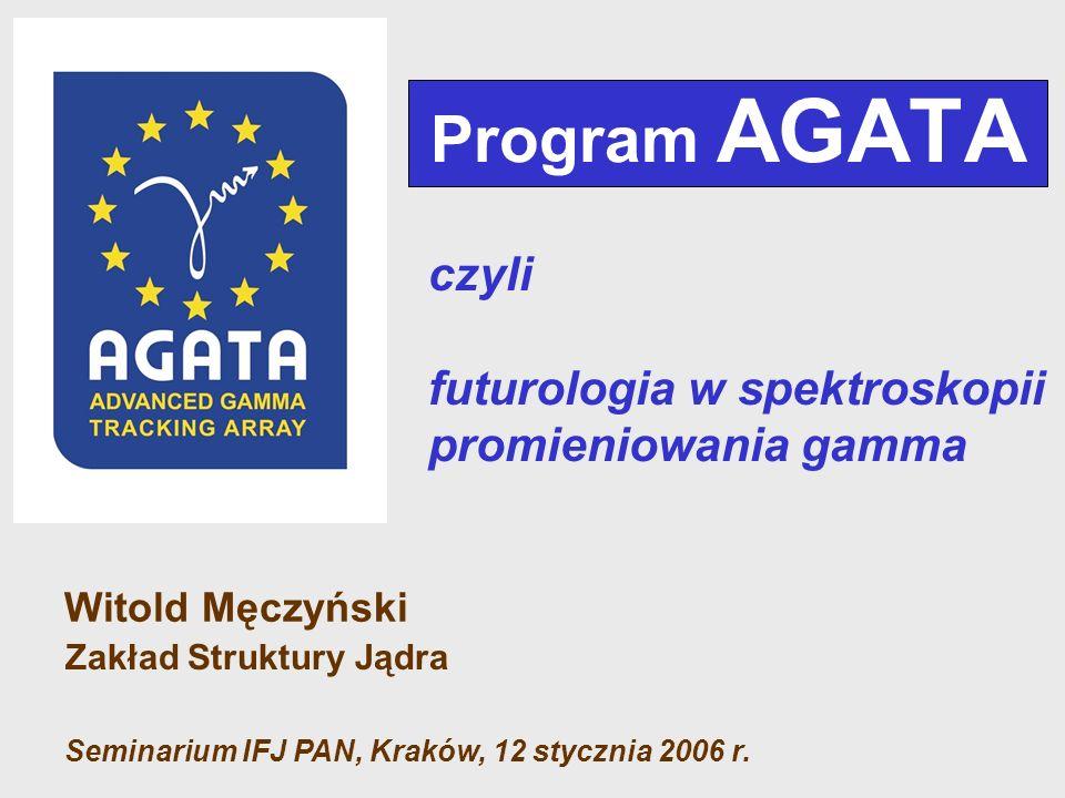 Program AGATA Witold Męczyński Zakład Struktury Jądra Seminarium IFJ PAN, Kraków, 12 stycznia 2006 r. czyli futurologia w spektroskopii promieniowania