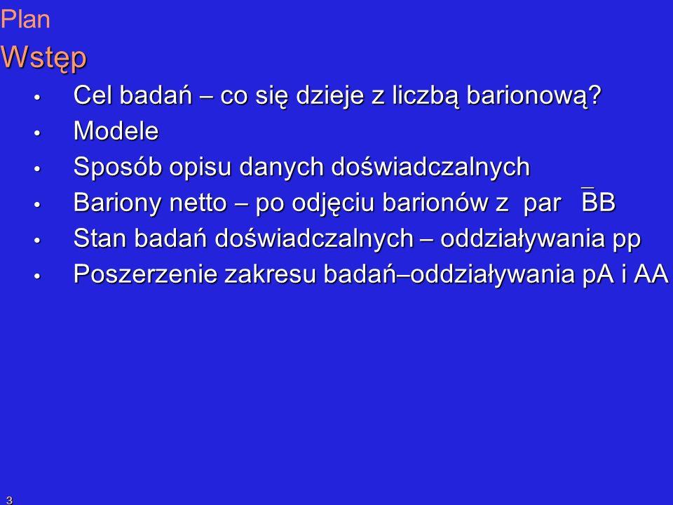 P.SzymańskiPrzekaz liczby barionowej 3 Plan Wstęp Cel badań – co się dzieje z liczbą barionową.