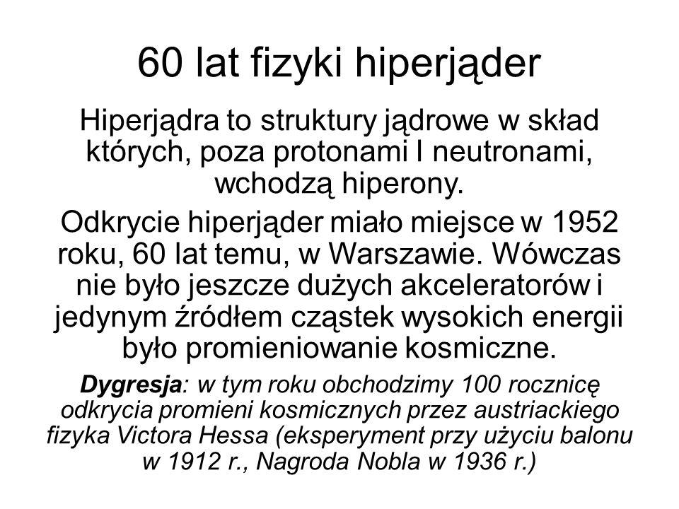 60 lat fizyki hiperjąder Hiperjądra to struktury jądrowe w skład których, poza protonami I neutronami, wchodzą hiperony.