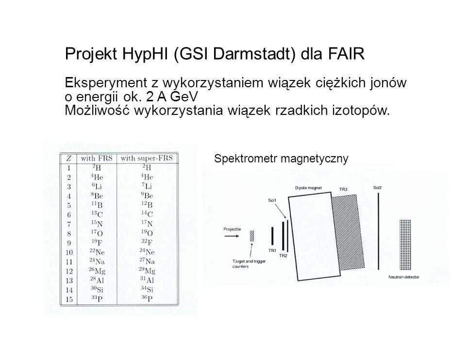 Projekt HypHI (GSI Darmstadt) dla FAIR Eksperyment z wykorzystaniem wiązek ciężkich jonów o energii ok.
