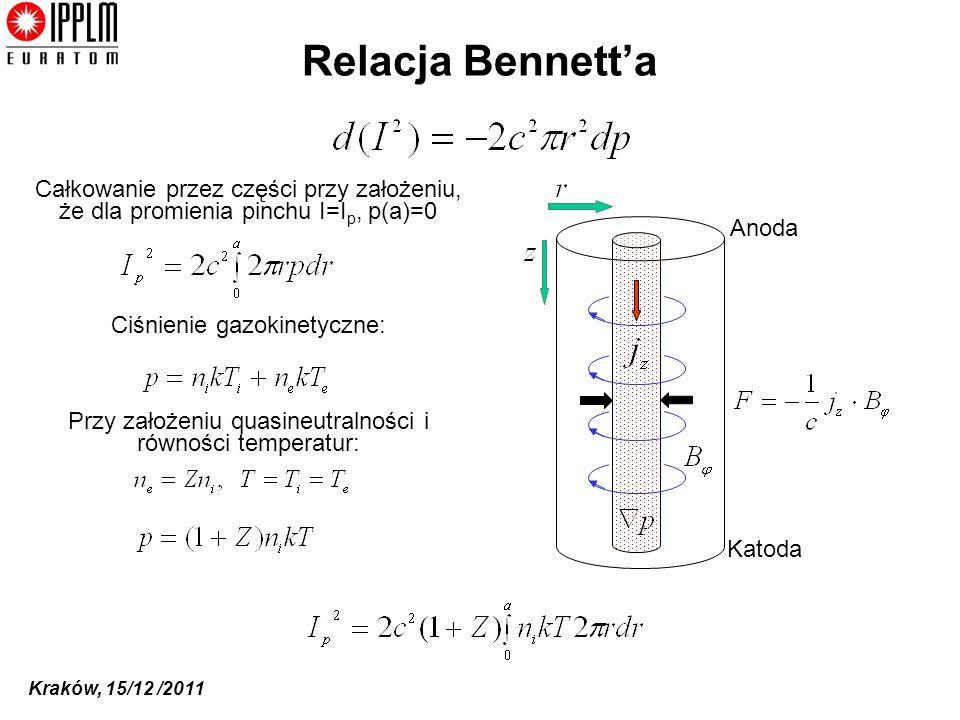 Kraków, 15/12 /2011 Relacja Bennetta Całkowanie przez części przy założeniu, że dla promienia pinchu I=I p, p(a)=0 Ciśnienie gazokinetyczne: Przy założeniu quasineutralności i równości temperatur: Anoda Katoda