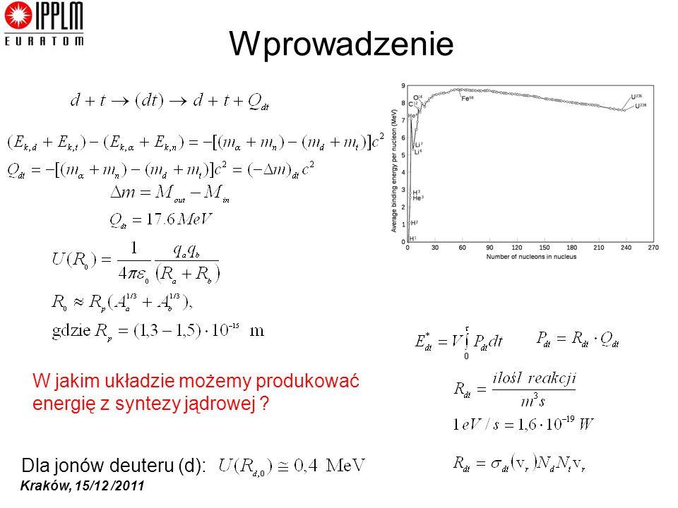Kraków, 15/12 /2011 Wprowadzenie Dla jonów deuteru (d): W jakim układzie możemy produkować energię z syntezy jądrowej ?