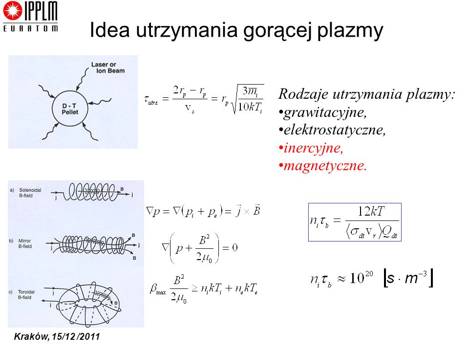 Kraków, 15/12 /2011 Idea utrzymania gorącej plazmy Rodzaje utrzymania plazmy: grawitacyjne, elektrostatyczne, inercyjne, magnetyczne.