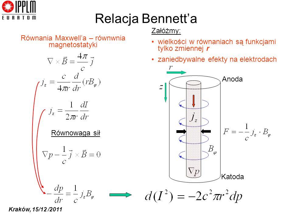 Kraków, 15/12 /2011 Relacja Bennetta Równowaga sił Równania Maxwella – równwnia magnetostatyki Anoda Katoda Załóżmy: wielkości w równaniach są funkcjami tylko zmiennej r zaniedbywalne efekty na elektrodach