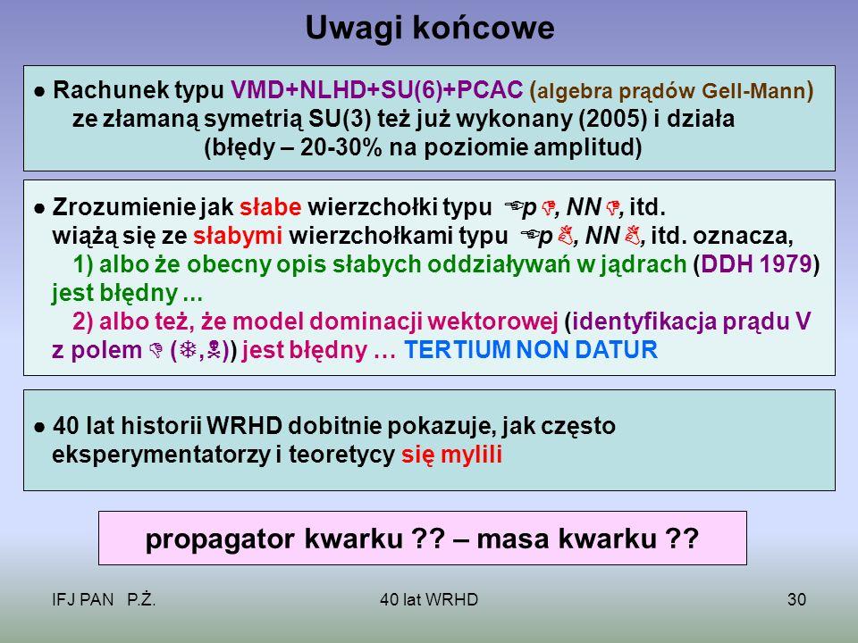IFJ PAN P.Ż.40 lat WRHD30 Uwagi końcowe Rachunek typu VMD+NLHD+SU(6)+PCAC ( algebra prądów Gell-Mann ) ze złamaną symetrią SU(3) też już wykonany (2005) i działa (błędy – 20-30% na poziomie amplitud) Zrozumienie jak słabe wierzchołki typu p, NN, itd.