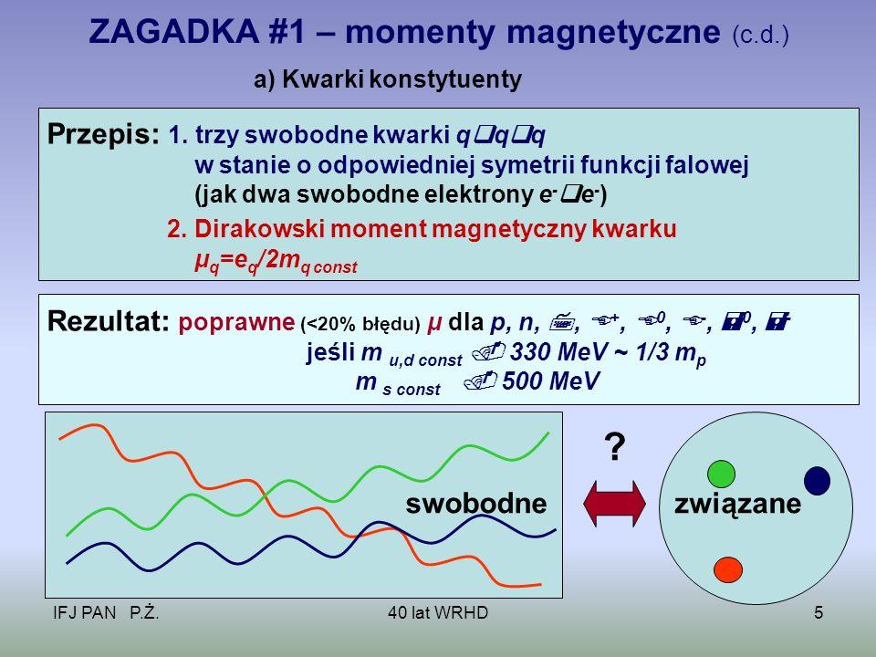IFJ PAN P.Ż.40 lat WRHD26 WRHD + NLHD – Teoria [14] Efekt uboczny: f, d S ( miękkie piony )+R+R fSdSfSdS Eksp.