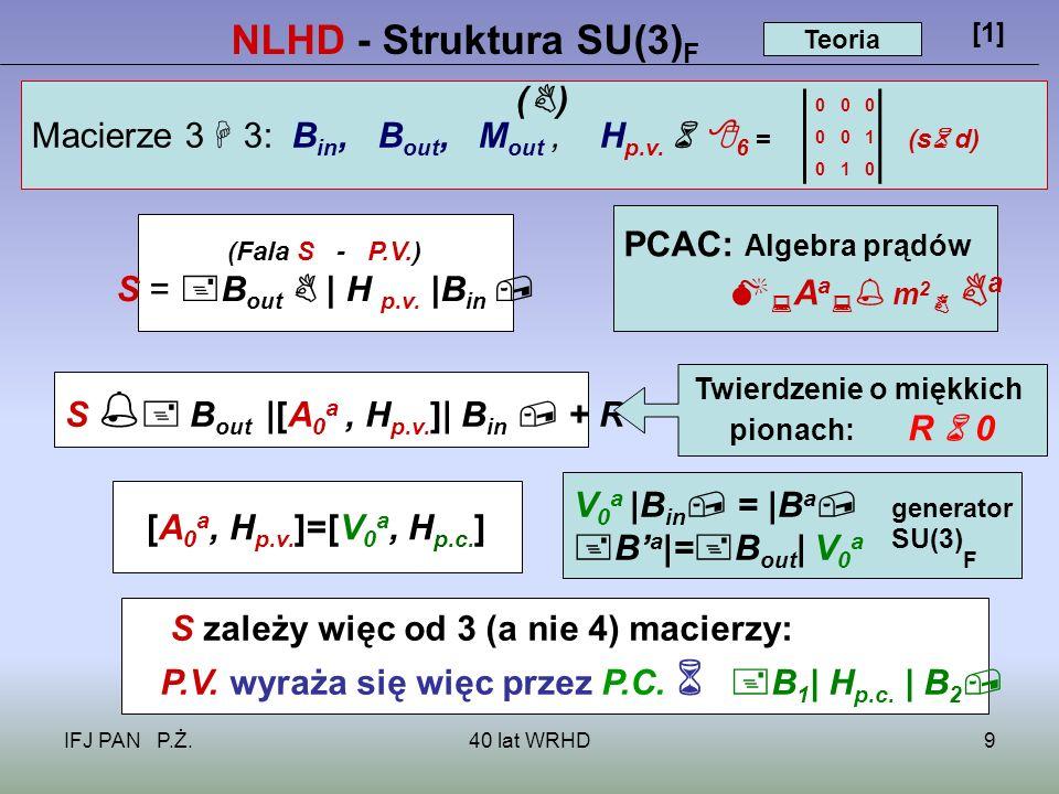 IFJ PAN P.Ż.40 lat WRHD9 NLHD - Struktura SU(3) F [1] Macierze 3 3: B in, B out, M out, H p.v.