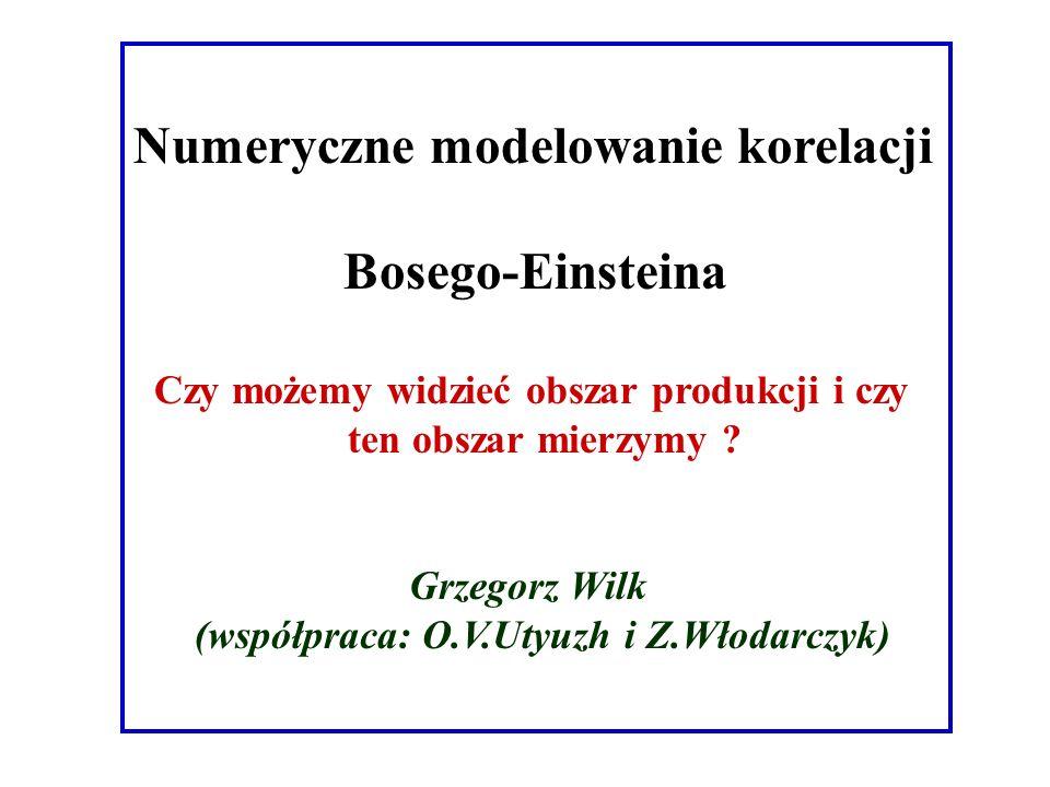 Numeryczne modelowanie korelacji Bosego-Einsteina Czy możemy widzieć obszar produkcji i czy ten obszar mierzymy .
