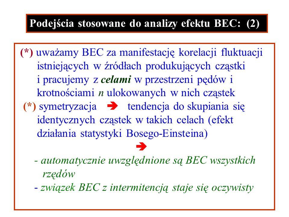 Podejścia stosowane do analizy efektu BEC: (2) (*) uważamy BEC za manifestację korelacji fluktuacji istniejących w źródłach produkujących cząstki i pracujemy z celami w przestrzeni pędów i krotnościami n ulokowanych w nich cząstek (*) symetryzacja tendencja do skupiania się identycznych cząstek w takich celach (efekt działania statystyki Bosego-Einsteina) - automatycznie uwzględnione są BEC wszystkich rzędów - związek BEC z intermitencją staje się oczywisty
