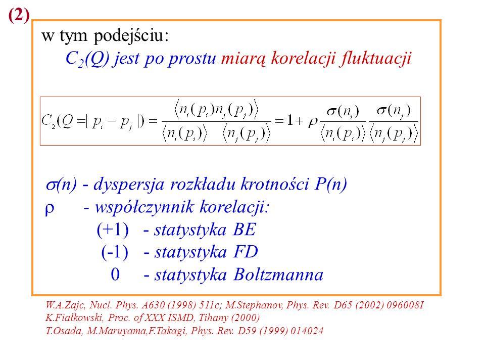 (2) w tym podejściu: C 2 (Q) jest po prostu miarą korelacji fluktuacji (n) - dyspersja rozkładu krotności P(n) - współczynnik korelacji: (+1) - statystyka BE (-1) - statystyka FD 0 - statystyka Boltzmanna W.A.Zajc, Nucl.
