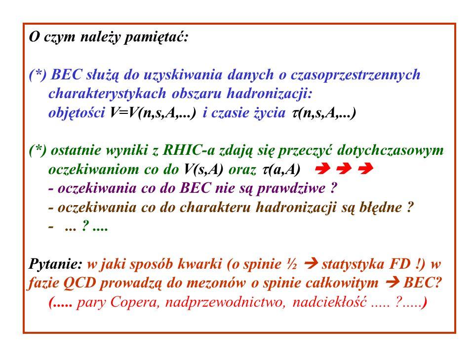 O czym należy pamiętać: (*) BEC służą do uzyskiwania danych o czasoprzestrzennych charakterystykach obszaru hadronizacji: objętości V=V(n,s,A,...) i czasie życia (n,s,A,...) (*) ostatnie wyniki z RHIC-a zdają się przeczyć dotychczasowym oczekiwaniom co do V(s,A) oraz (a,A) - oczekiwania co do BEC nie są prawdziwe .
