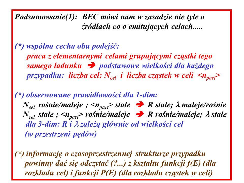 Podsumowanie(1): BEC mówi nam w zasadzie nie tyle o źródłach co o emitujących celach.....