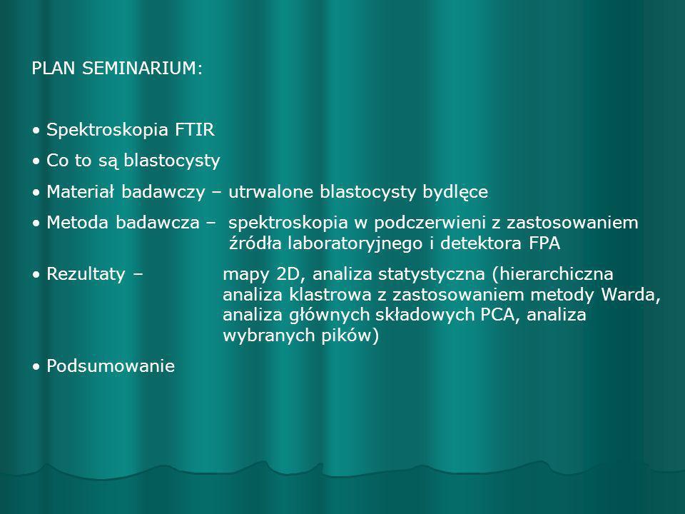 PLAN SEMINARIUM: Spektroskopia FTIR Co to są blastocysty Materiał badawczy – utrwalone blastocysty bydlęce Metoda badawcza – spektroskopia w podczerwi
