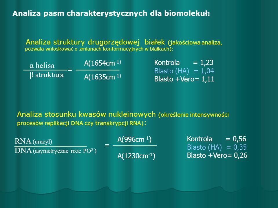 Analiza pasm charakterystycznych dla biomolekuł: α helisa β struktura = A(1654cm -1) A(1635cm -1) Analiza struktury drugorzędowej białek (jakościowa a