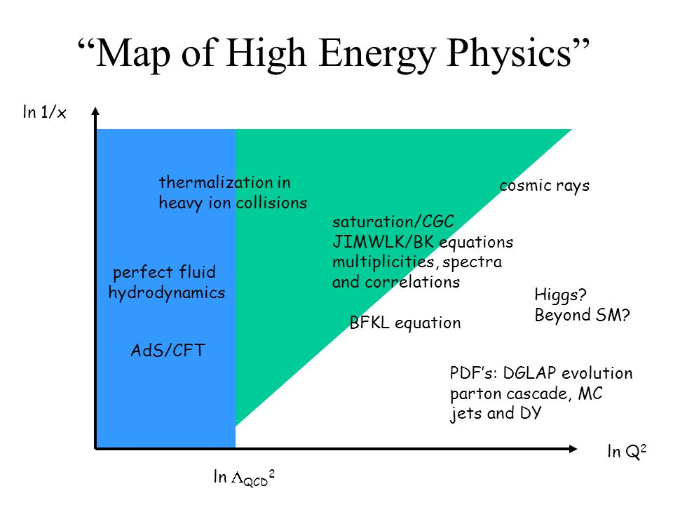 Map of High Energy Physics ln 1/x ln Q 2 ln QCD 2 saturation/CGC JIMWLK/BK equations multiplicities, spectra and correlations cosmic rays PDFs: DGLAP evolution parton cascade, MC jets and DY BFKL equation thermalization in heavy ion collisions perfect fluid hydrodynamics Higgs.