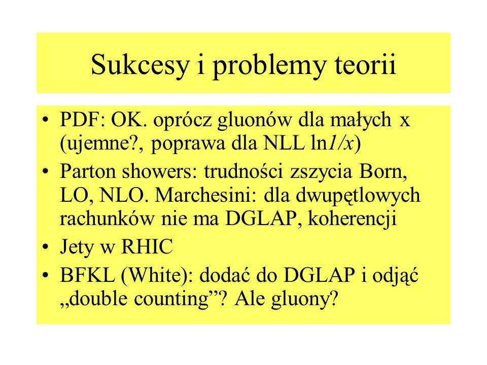 Sukcesy i problemy teorii PDF: OK. oprócz gluonów dla małych x (ujemne?, poprawa dla NLL ln1/x) Parton showers: trudności zszycia Born, LO, NLO. March