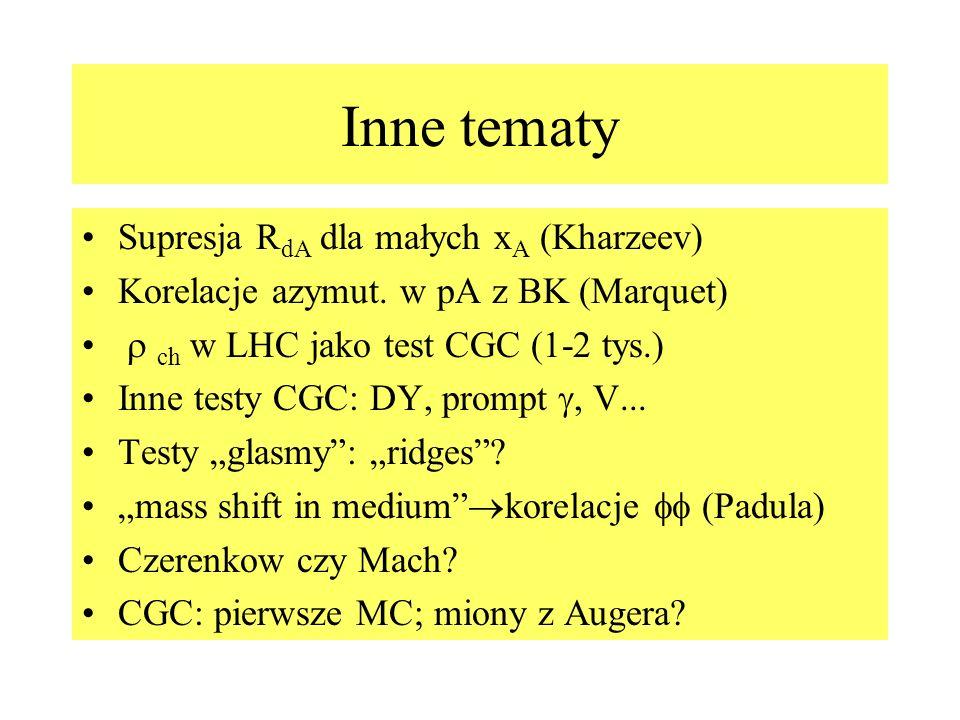 Inne tematy Supresja R dA dla małych x A (Kharzeev) Korelacje azymut. w pA z BK (Marquet) ch w LHC jako test CGC (1-2 tys.) Inne testy CGC: DY, prompt