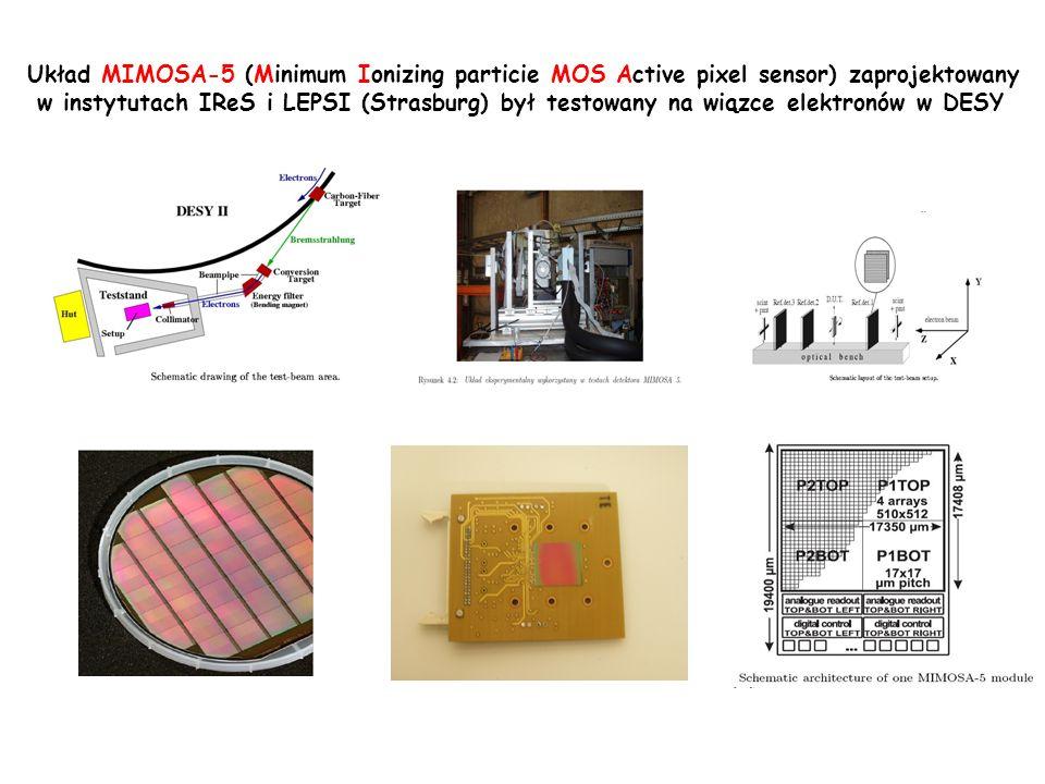 Układ MIMOSA-5 (Minimum Ionizing particie MOS Active pixel sensor) zaprojektowany w instytutach IReS i LEPSI (Strasburg) był testowany na wiązce elekt