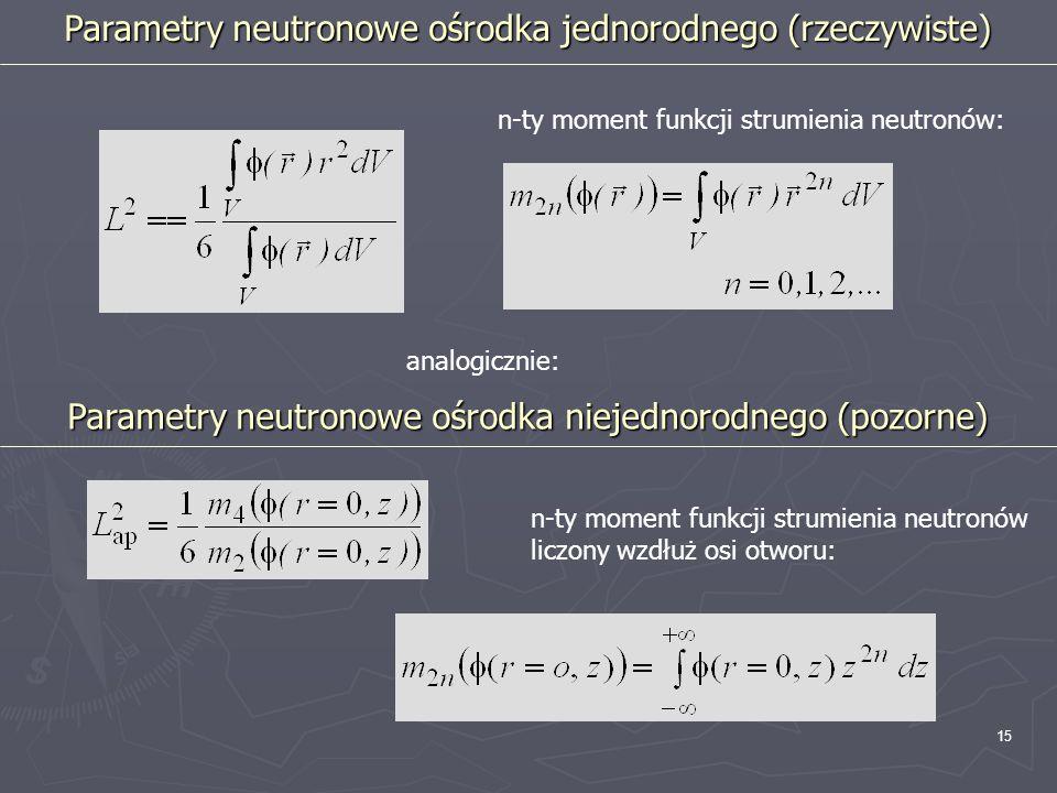 15 analogicznie: Parametry neutronowe ośrodka jednorodnego (rzeczywiste) n-ty moment funkcji strumienia neutronów: Parametry neutronowe ośrodka niejed