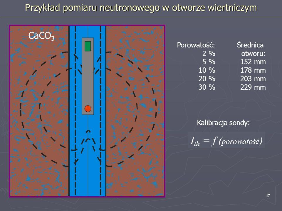 17 Porowatość: 2 % 5 % 10 % 20 % 30 % CaCO 3 Średnica otworu: 152 mm 178 mm 203 mm 229 mm Przykład pomiaru neutronowego w otworze wiertniczym Kalibrac