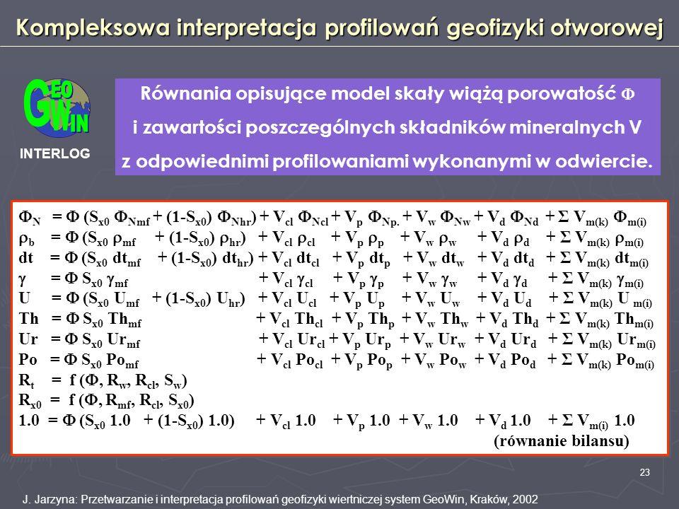 23 N = (S x0 Nmf + (1-S x0 ) Nhr ) + V cl Ncl + V p Np. + V w Nw + V d Nd + Σ V m(k) m(i) b = (S x0 mf + (1-S x0 ) hr ) + V cl cl + V p p + V w w + V