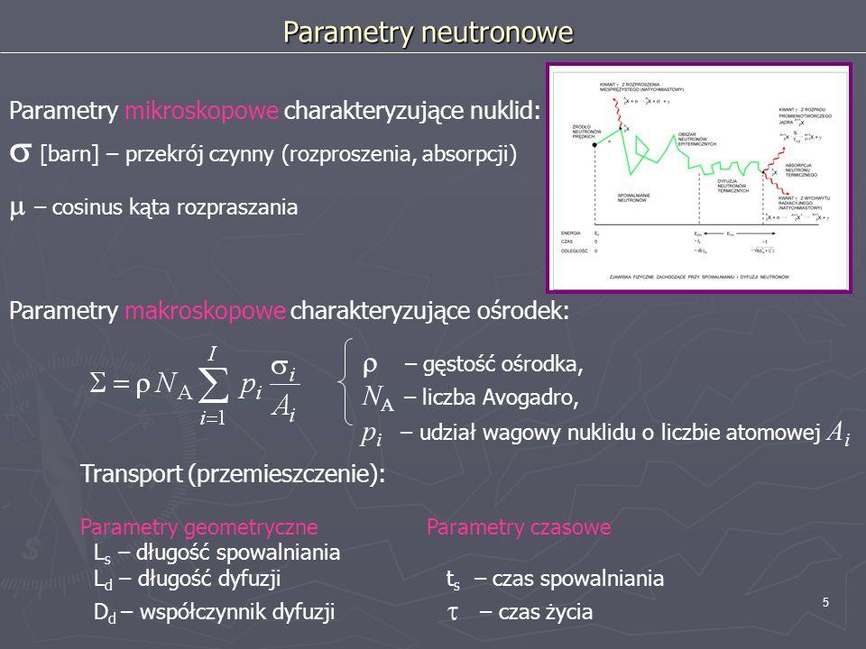 5 Parametry makroskopowe charakteryzujące ośrodek: Parametry mikroskopowe charakteryzujące nuklid: [barn] – przekrój czynny (rozproszenia, absorpcji)