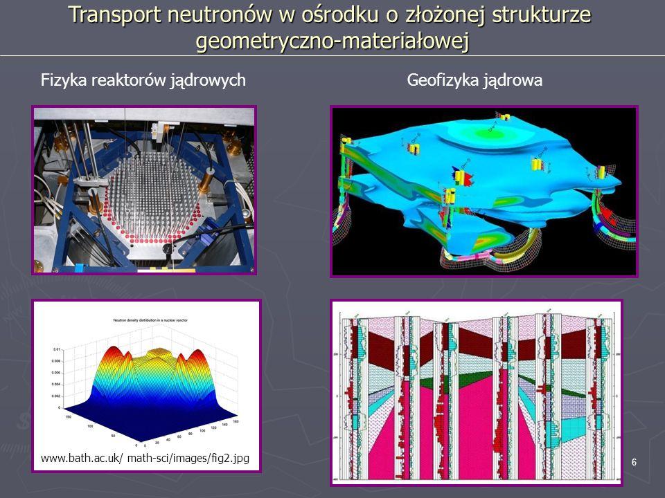 6 Transport neutronów w ośrodku o złożonej strukturze geometryczno-materiałowej Fizyka reaktorów jądrowychGeofizyka jądrowa www.bath.ac.uk/ math-sci/i
