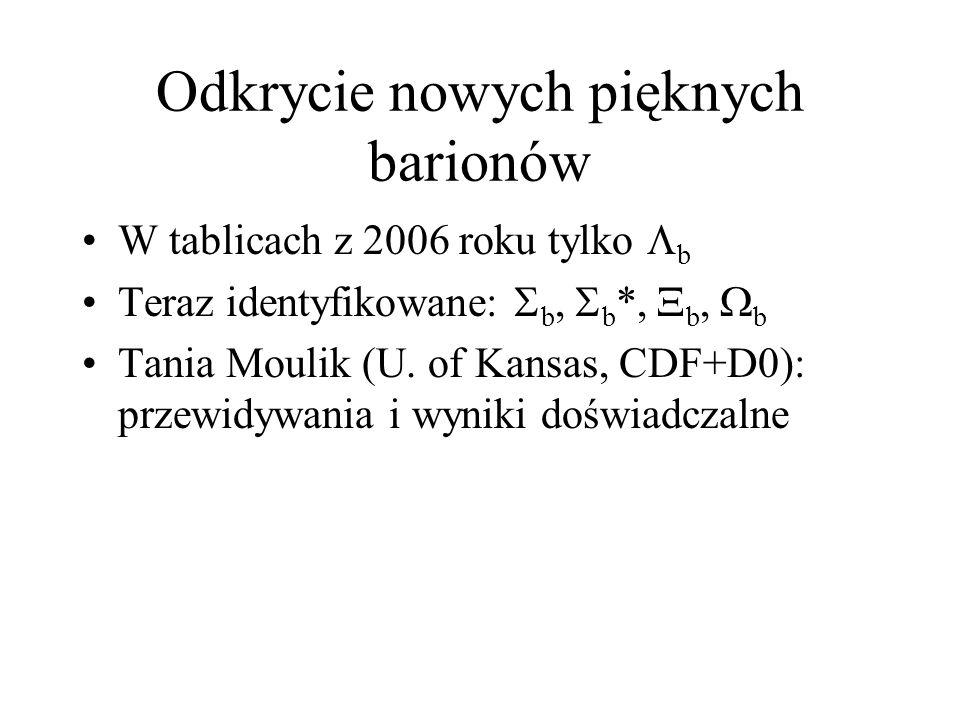 Odkrycie nowych pięknych barionów W tablicach z 2006 roku tylko b Teraz identyfikowane: b, b *, b, b Tania Moulik (U. of Kansas, CDF+D0): przewidywani