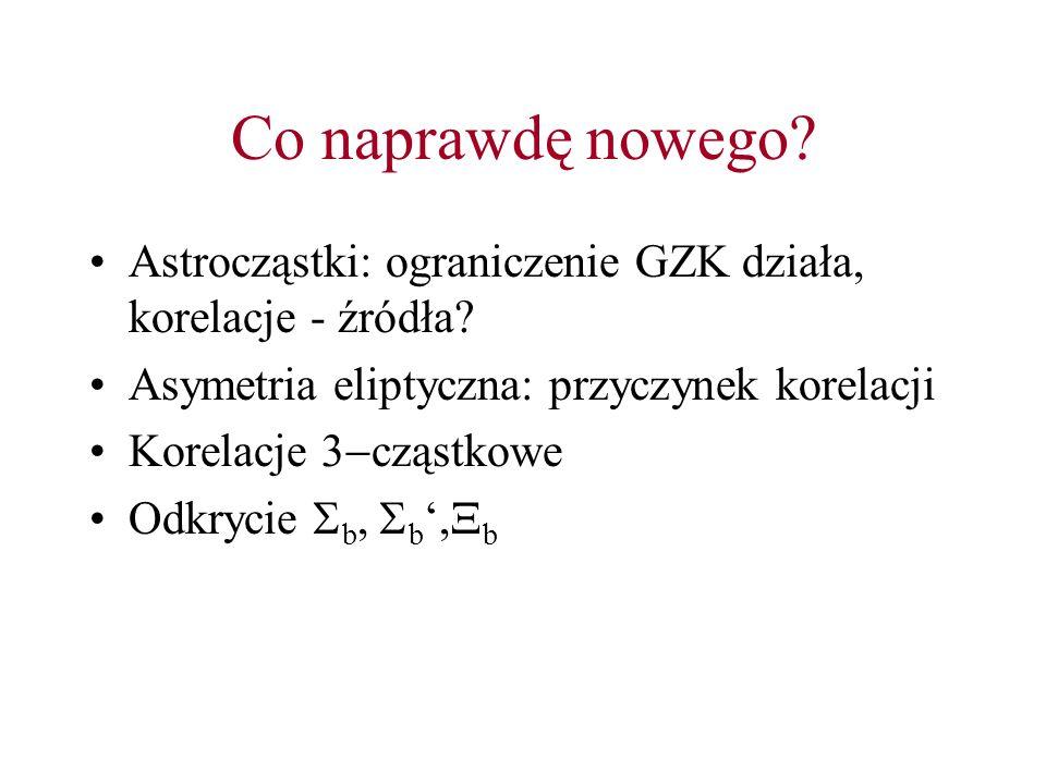 Co naprawdę nowego? Astrocząstki: ograniczenie GZK działa, korelacje - źródła? Asymetria eliptyczna: przyczynek korelacji Korelacje cząstkowe Odkrycie