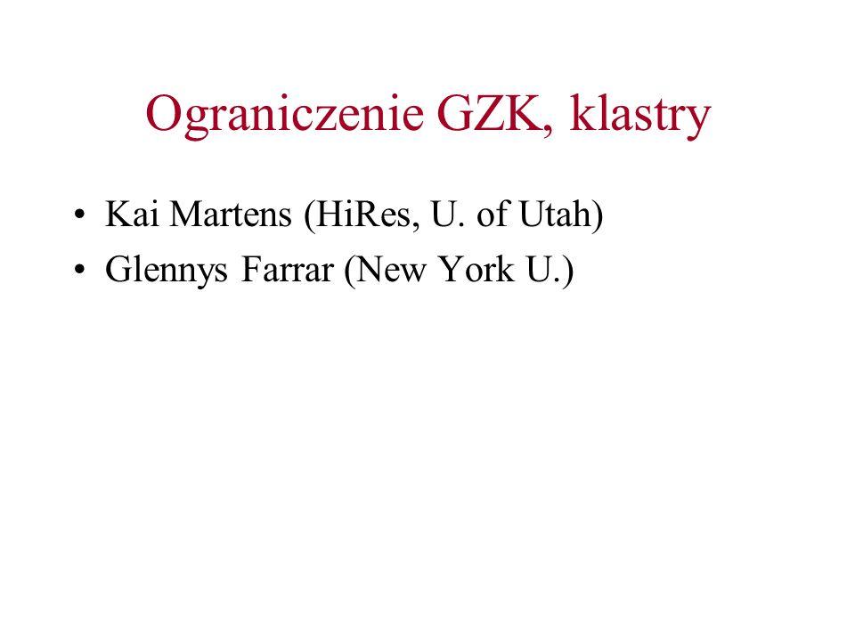 Ograniczenie GZK, klastry Kai Martens (HiRes, U. of Utah) Glennys Farrar (New York U.)