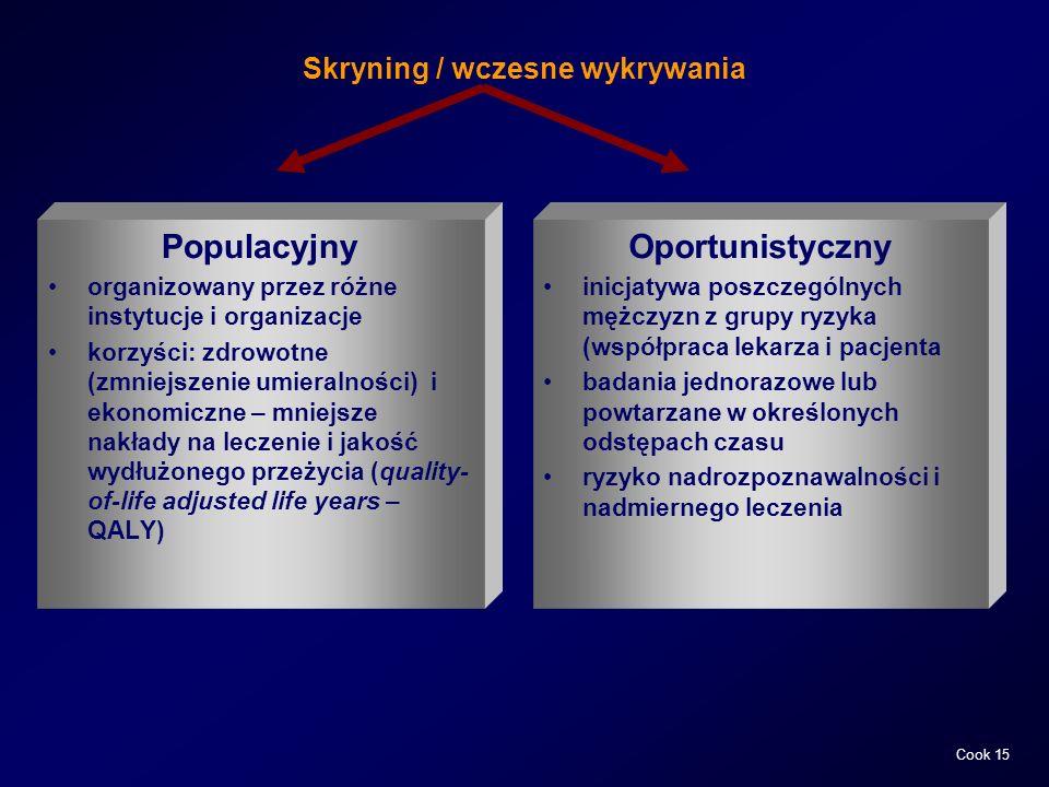 Skryning / wczesne wykrywania Populacyjny organizowany przez różne instytucje i organizacje korzyści: zdrowotne (zmniejszenie umieralności) i ekonomic